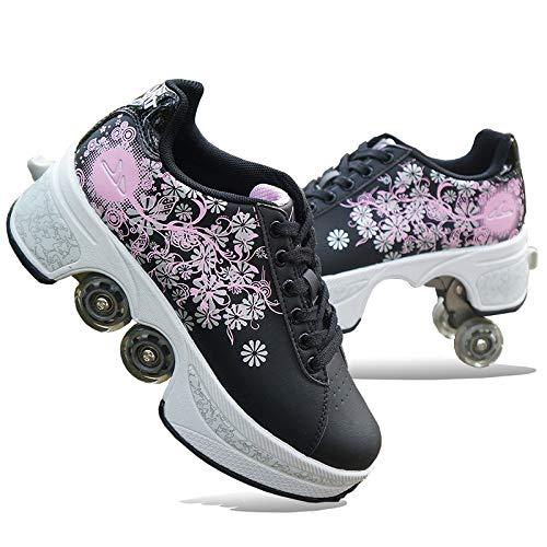CHXY Rollschuhe Damen,Schuhe Mit Rollen Skateboardschuhe 2 In 1 Inline-Skate,Mehrzweckschuhe, Verstellbare Quad-Rollschuh-Stiefel Unisex-Kinder Skateboard Schuhe,Rosa-36EU