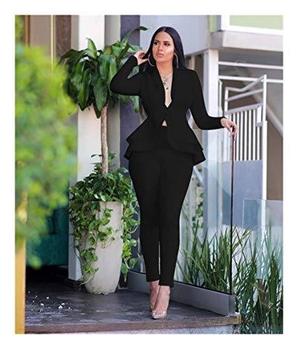 ASVNDD Frauen-Winter-Frauen-Set Anzug Voll Sleeve Raff-Bleistift-Hosen-Anzug Zweiteiler Büro-Dame Outfits Uniform (Color : Black, Size : Small)