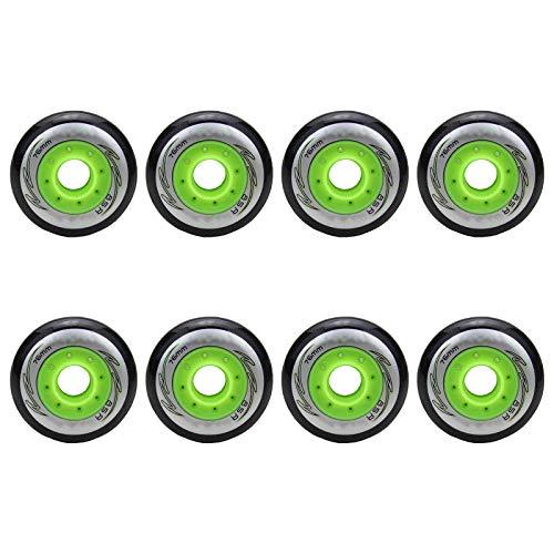 8 Stück PU Ersatzräder für Inline Skates 72mm 76mm 80mm 85A Innen Hockey Skates Rollen ohne Lager,Schwarz,80mm