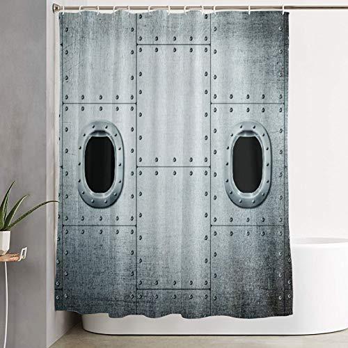 VINISATH Duschvorhang,Flugzeug Windows Close Up Image Detaillierte Steampunk Style Illustration,wasserdichter Badvorhang mit 12 Haken Duschvorhangringen 180x180cm