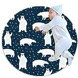 Alfombra de algodón súper suave para niños con superficie redonda y diámetro de la almohadilla de juego, osos polares