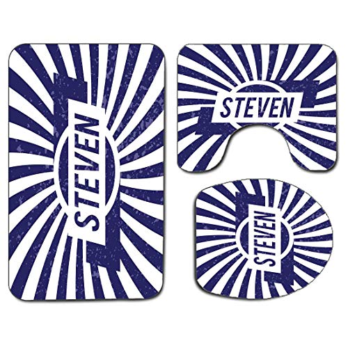 3Pcs Non-Slip Bathroom Rug Toilet Seat Lid Cover Set Steven Soft Skidproof Bath Mat Common English First Name for Boys in Blue and White Retro Composition,Navy Blue and White Absorbent Doormat Bedroom