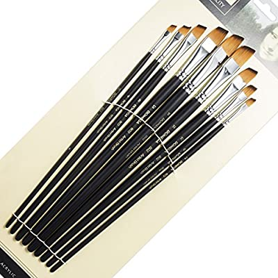 9 Pieces Artist Paint Brushes Nylon Angled Flat Paint/Filbert Paint/Round Point Long Handle Value Set for Oils, Acrylic, Gouache & Watercolor Painting-Lightwish