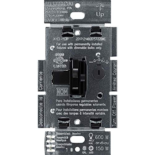 Lutron Ariadni/Toggler LED+ Dimmer | 150-Watt, Single-Pole/3-Way | AYCL-153P-BL | Black