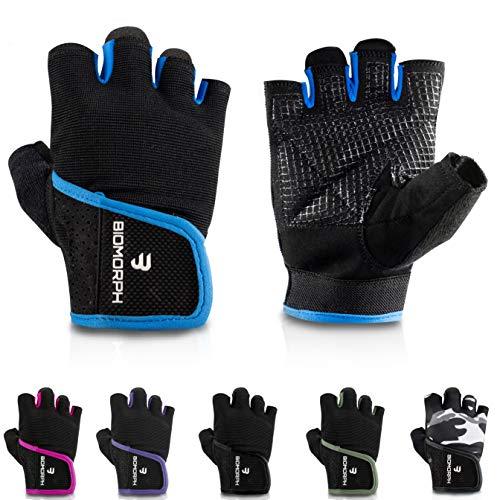 BIOMORPH Trainingshandschuhe für Damen und Herren I Fitness Handschuhe für Krafttraining, Bodybuilding, Crossfit (Navy Blue, 21,5cm - 23,5cm - L)
