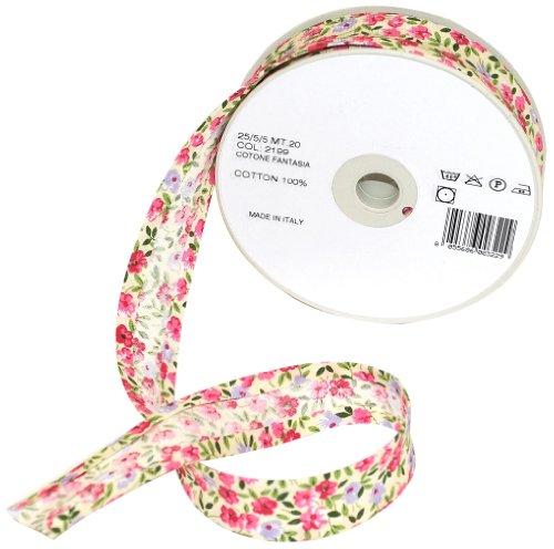 Inastri 25/5/5 mm Baumwollschrägband, Blumenmuster 2199