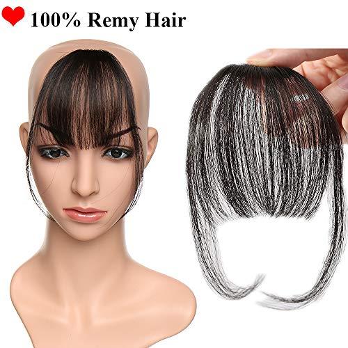 SEGO Frangia Clip Capelli Veri Frangetta Extension Fascia Unica Sottile 100% Remy Human Hair Neri Air Bang Invisibile #1B Nero Naturale