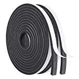 Weather Strip-2 Rolls, 1/2 Inch Wide X 1/4 Inch Thick Foam Seal Tape High Density Weatherstripping Self Adhesive Door Insulation Foam Rubber Seal Strip Total 26 Feet Long(13ft x 2 Rolls)