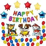 Decoraciones de cumpleaños para niños y niñas, suministros para fiestas de patrulla de perros, regalos para fiestas de cumpleaños con temática de cachorros, 52 globos de perros para niños