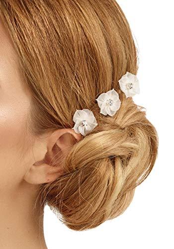 BrautChic Curlies Haarschmuck zur Hochzeit - Brautschmuck Haare - Haarblüten Hochzeit je 2cm (6-er Pack) - Haarspiralen Halten auch in KURZEM HAAR - Brautblüten - NICKELFREI, Versilbert - IVORY