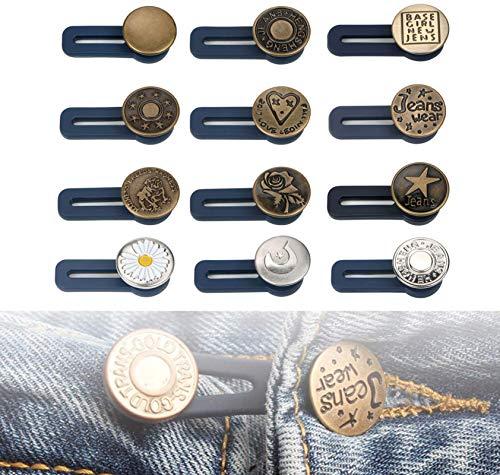 AINSS Pants waist extender, metal button waist extender elastic collar extender, retractable button waist extender jeans skirt trouser collar men and women
