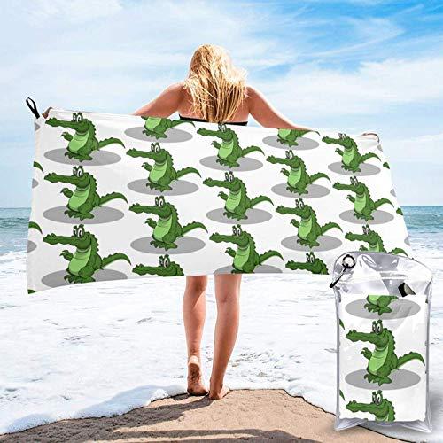 FLDONG Toalla de playa de secado rápido, toallas de baño con impresión de cocodrilo, ultra absorbente, suave, compacta, ligera, adecuada para niños y adultos 81.5 x 163 cm