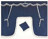 Juego de 5piezas de cortinas color azul en terciopelo con borlas de color blanco, tamaño universal para todos los modelos de camión, accesorio de cabina