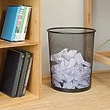 Relaxdays Papierkorb Metall, großer Papiereimer fürs Büro, Runder Mülleimer 20 Liter, Draht, 30 cm Ø, 35 cm hoch, Silber - 2
