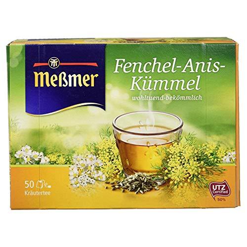 Meßmer, Teebeutel Vegan Glutenfrei Laktosefrei, Fenchel-Anis-Kümmel 50er Verpackung, 50 stück
