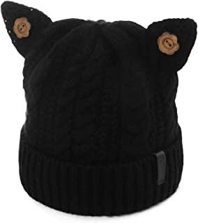 Womens Cat Ears Knit Beanie Woolen Warm Winter Hat Girl Chunky Soft Stretch Cable Skull 54-59cm