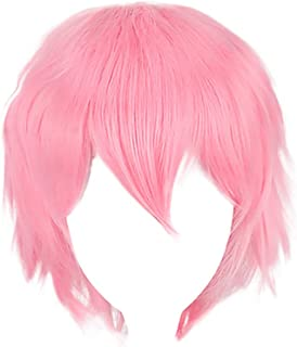☘️Wigs Hair for Women☘️RNTOP 1Pc Human Hair Short Wigs Fashion Spiky Layered Anime Cosplay Wig Halloween Christmas Carnival Dress Up Pretend Play Party Wig Gift+Cap (Pink)
