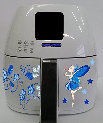 Stickers geschikt voor Philips Airfryer XL Fee blauw bloemenrank