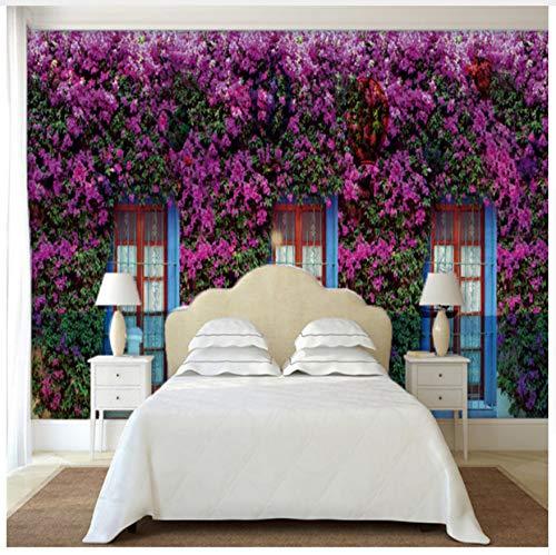 3D Tapete Wandbild Nach Maß 3D Fototapete Wand 3D Wandbilder Tapete Europäischen Garten Blumentapete Für Wohnzimmer Bettwäsche Zimmer Seidenstoff 400X280cm,Ayzr
