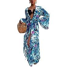 Pareo de Bikini para Mujer Cover Up para Playa Estampado Palmas Cárdigan Largo Mangas Largas Estilo Bohemio Bata Kimono Mujer Playa para Verano (Azul, L)