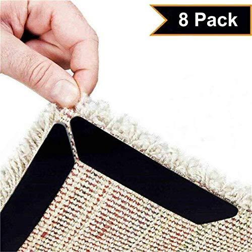 HEQUN 16 PCS pad Teppich, Non Slip Stopper Ecke Pads Teppichband Starke Klebrigkeit ohne Boden zu verletzen, Stop Rutschen, wiederverwendbar (8 PCS)