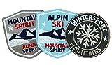 Club of Heroes 3er-Set, Stick-Abzeichen/Alpin Ski Wintersport/Applikation, Aufnäher, Aufbügler, Aufkleber, Bügelbild, Patch für Kleidung, Rucksäcke, Taschen/Skifahren, Bergsteigen, Winter