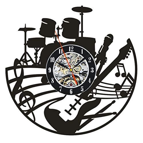 LIOOBO Disco de Vinilo Reloj de Pared Instrumento Musical Reloj Colgante Vintage Decoración de Arte de Pared para Oficina en Casa Cafetería Hotel (Sin Baterías)