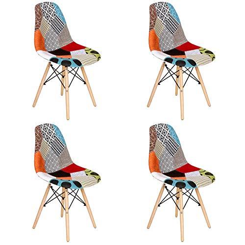 BenyLed 4er Set Stoff-Esszimmerstühlen, Patchwork-Stühlen, Lässiger Stuhl, Schöne Stoffkombination, Moderner Retro-Stuhl für Esszimmer, Küche, Büro, Restaurant usw, Mehrfarbig (Rot-002)