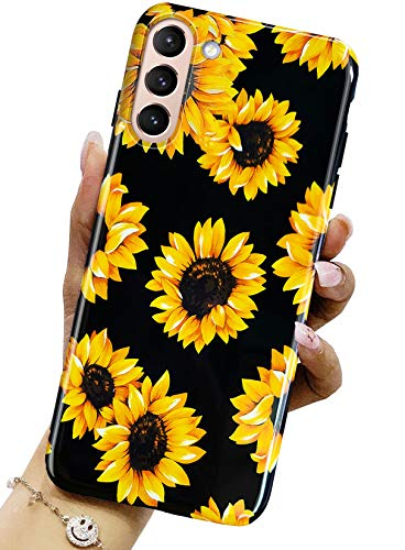 J.west Galaxy S21 Case 5G 6.2-inch, Vintage Floral Cute Sunflower Design Pretty Yellow Flower Pattern Print Black Soft Silicone Cover for Women Girls Slim TPU Sturdy Protective Phone Case Sunflowers