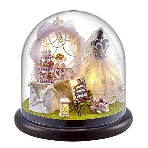 Yunt-11 Kit de casa en miniatura para casa de muecas, habitacin creativa con muebles y cubierta de cristal, mejor regalo romntico de obras de arte para mujeres y nias