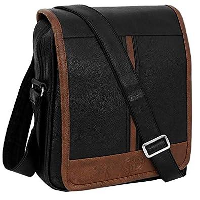 Storite Stylish PU Leather Sling Cross Body Travel Office Business Messenger One Side Shoulder Bag for Men Women (30cmx5.5cmx24cm) (Black/Brown)