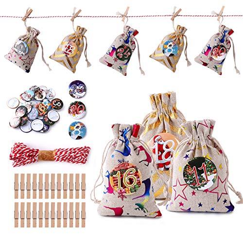 Herefun 24 Yute Bolsas con Cordón Cuerda Bolsa de Regalo Navidad Calendario Adviento Navidad DIY Bolsa de Regalo Pegatinas Digitales Saquitos de Tela de Regalo, para Ggraduación Cumpleaños Fiestas