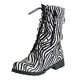 POLP Botas Militares Mujer Invierno Botines Mujer Tacon Medio Zapatos de Tacón con Cordones Zapatilla Alta con Hebilla Camuflaje Patrón de Cebra