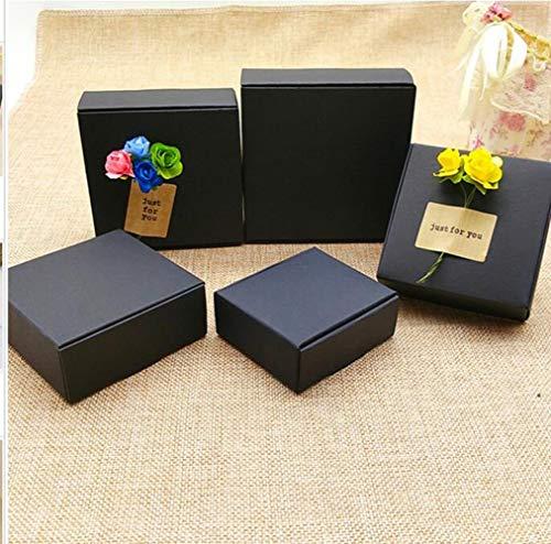 Pequeñas cajas de regalo negro 100pcs, Mini tamaño caja de cartón de regalo cajas de cartón para joyas/relojes, caja de embalaje cosmético personalizado, 90x86x16mm