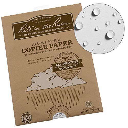 Rite in the Rain Weatherproof Laser Printer Paper, 8 1/2' x 11', 20# Gray Colored Printer Paper, 50...