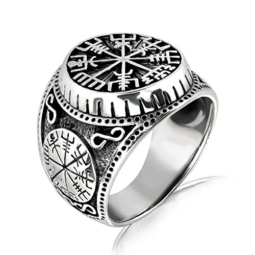 WithLoveSilver Solid 925 Sterling Silver Vegvisir Talisman Celtic Viking Protection Ring (9)