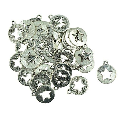 oshhni 30x Star Circle Shaped Pendants, Addition for DIY Bracelet/Ribbon Making