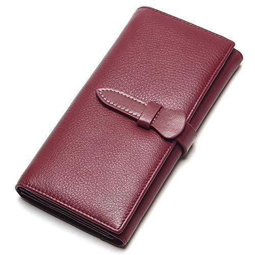 Rcnrydamen Lange Brieftasche, Leder - siebzig Prozent ab auf schloß, europäischen und amerikanischen Retro - multifunktionale Brieftasche, schwarz - rot, Wein,weinrot