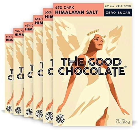 The Good Chocolate Zero Sugar 65 Himalayan Salt Dark Chocolate Bars Organic Keto Friendly Low product image