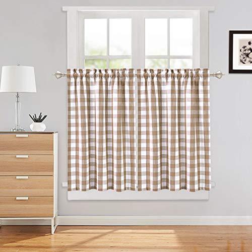 LinTimes Tier Vorhänge für die Küche, Buffalo Check Plaid Gingham Gardinenstange Tasche Half Window Bad Fenstervorhang, 2 Panels, Gelb, 28x36 Zoll