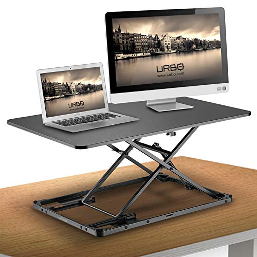 Urbo Anjer Ergonomic Sit Stand Desk Converter with Height Memory Lock and Non-Skid Base - Slim and Flat when Folded Down - Work Comfortably Even in Sitting Position