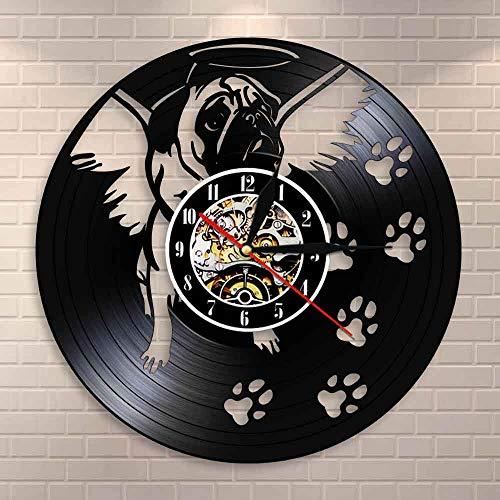 wtnhz LED-Bulldog y alas de ángel Reloj de Pared Moderno Bulldog inglés Pata de Perro Decoración de Pared Reloj de Pared Disco de Vinilo Reloj de Perro Pug Vintage