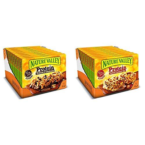 Nature Valley Proteinriegel Set – Erdnuss & Schokolade + Salted Caramel Nut, je 1 x 8er Multipack mit 4 Proteinriegeln (2 x 8 x 160g)