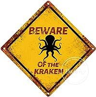 クラーケンの警告サインに注意してください注意交差点のサインヴィンテージ通知壁の装飾金属ポスター野生の池のプラーク工芸品ファームフォレストフィールドデザート