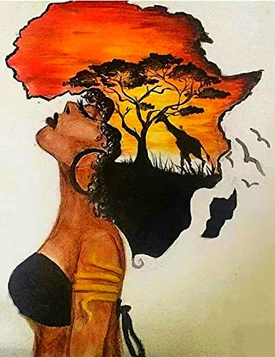 DIY 5D Full Drill American Native African Woman Giraffe Sunset Landscape Square Diamond Painting by Number Kits for Adults Crystal Rhinestone Cross Stitch for Wall Decoration Gift 40x50CM/16x20IN