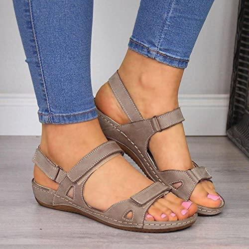 Fnho Sandalias de Plataforma para Mujer,Punta Abierta Sandalias Plataforma,Sandalias de Gran tamaño, Zapatillas de Ocio al Aire Libre-Gris_42