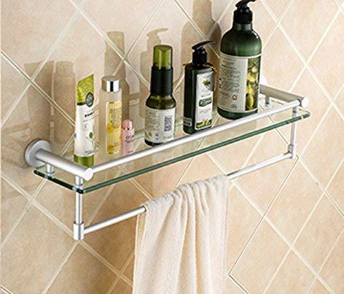 WLVG Estante de baño Espacio Aluminio Baño Colgante Estante de Vidrio Estante de baño