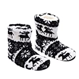 IMIKEYA Christmas Slipper Socks Christmas Deer Pattern Boots Coral Fleece Printing Sock Cold Protection Wamer Shoes for Home Adults (Black, 36-38 Size)