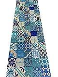 Il Gruppone Tappeto passatoia Made in Italy Antiscivolo Lavabile Fantasia borbonese Blu - Borbonese Blu - 50x300cm