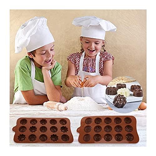 Sicuro riutilizzabile cottura della cucina Stampi Strumento Mini 6 Bakeware cioccolato Stampi di sicurezza for la cottura, biscotti, cupcakes, brownies Fiore di amore del cuore della Rosa Sun Star